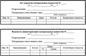 Акт приема-передачи ТМЦ при смене материально ответственного лица