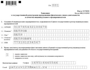 Заполнение бланка госпошлины на закрытие ИП, по форме Р26001