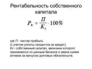 Рентабельность собственного капитала и формула его расчета