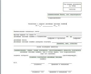 Заявление на выдачу чековой книжки