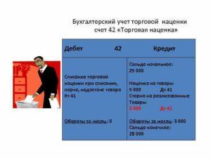 Счет 42 в бухгалтерском учете: Торговая наценка