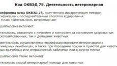 ОКВЭД 75 Деятельность ветеринарная